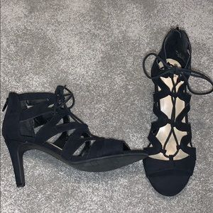 Black lace up high heels!